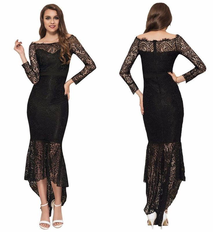 New Black Plus Size Elegant Midi Off Shoulder Frill Evening Wedding Formal Dress