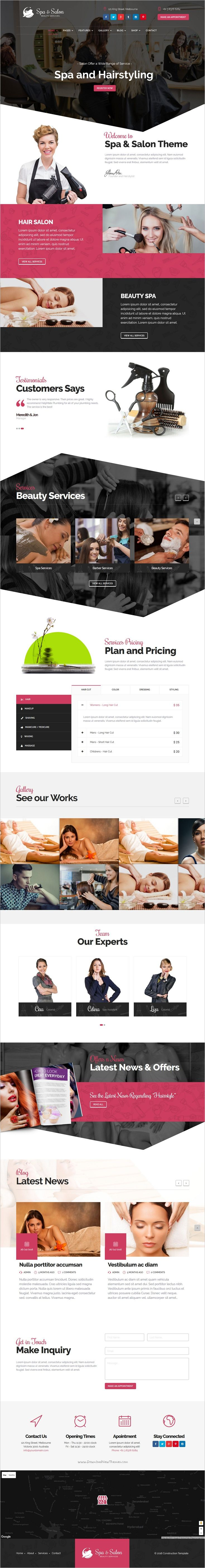 Beautiuflly design one and multi-page responsive #WordPress theme for #beauty #salon and construction service websites download now➩ https://themeforest.net/item/beauty-salon-construction-services-wordpress-theme/18942865?ref=Datasata