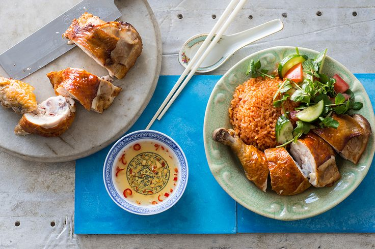 Crispy skin chicken with red rice (com ga chien don)