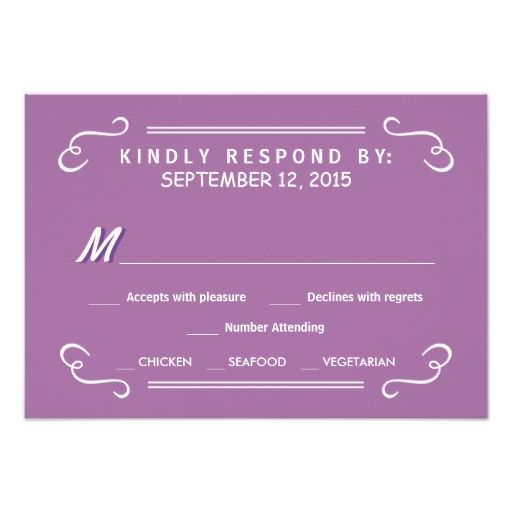 Orchid Eat Drink and RSVP Rustic Wedding Reply Invitations