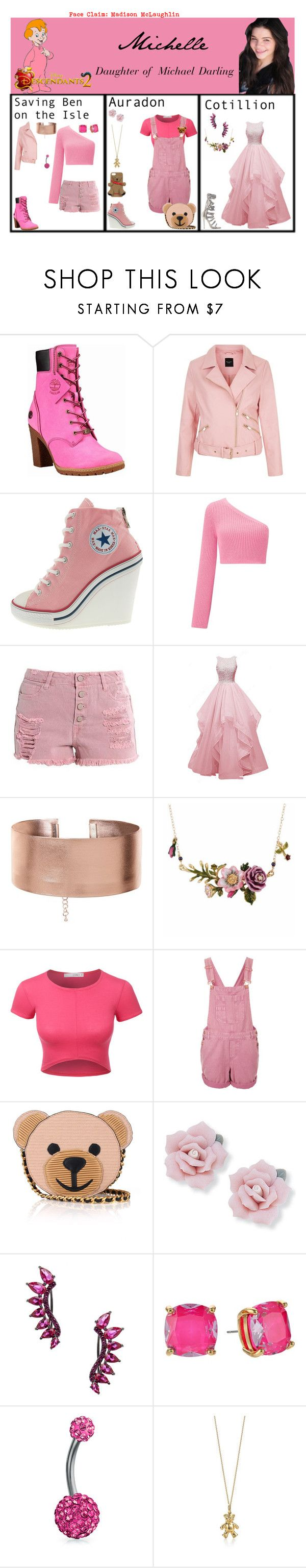 """""""Michelle. Daughter of Michael Darling. Descendants 2"""" by elmoakepoke ❤ liked on Polyvore featuring Timberland, Miss Selfridge, Monika Chiang, Les Néréides, LE3NO, Topshop, Moschino, Palm Beach Jewelry, Noir Jewelry and Kate Spade"""