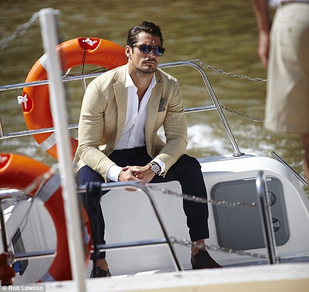 Riviera style: Male supermodel David Gandy seems to have a special skill for posing in boats. He was pictured doing his thing at a Johnnie Walker party aboard a luxury yacht on the Thames