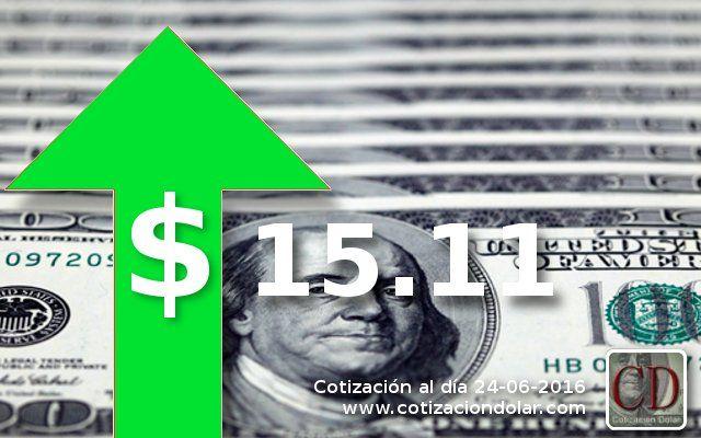 #Cotizacion ARGENTINA promedio 24-06-16 en pesos argentinos: #Dolar: 15.11 ▲ / http://www.cotizacion-dolar.com.ar/