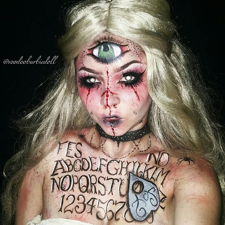 Madame Wija, Ouija Board Mistress | IG @voodoobarbiedoll | Makeup, SFX, Special Effects Makeup, Ouija Board Makeup, Fortune Teller, Mystic Makeup, Halloween Makeup, Halloween Inspiration, Spooky, Creepy Makeup, Bloody Makeup, Scab Blood, Blonde Wig