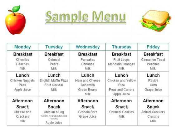 Printable Menus Daycares | Home Daily Schedule Tuition Food Menu Photos Credentials Contact me: