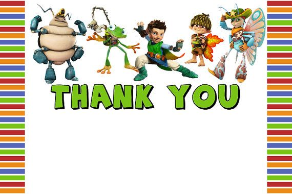 Tree Fu Tom Thank You Card Note - Digital File, Printable for Tree Fu Tom Theme Party (Instant Download)