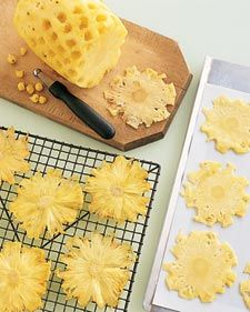 "Dried pineapple flowers. Bake on cookie sheet of for added character bake in a muffin tin to shape the ""flowers."""