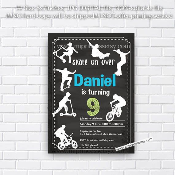 Skate on Over, scoot Skateboarder Birthday Invitation, , BMX, Scooter , scooter rider Big Boys birthday 6th 7th 8th 9th 10th card 413 by miprincess on Etsy https://www.etsy.com/transaction/1137194292