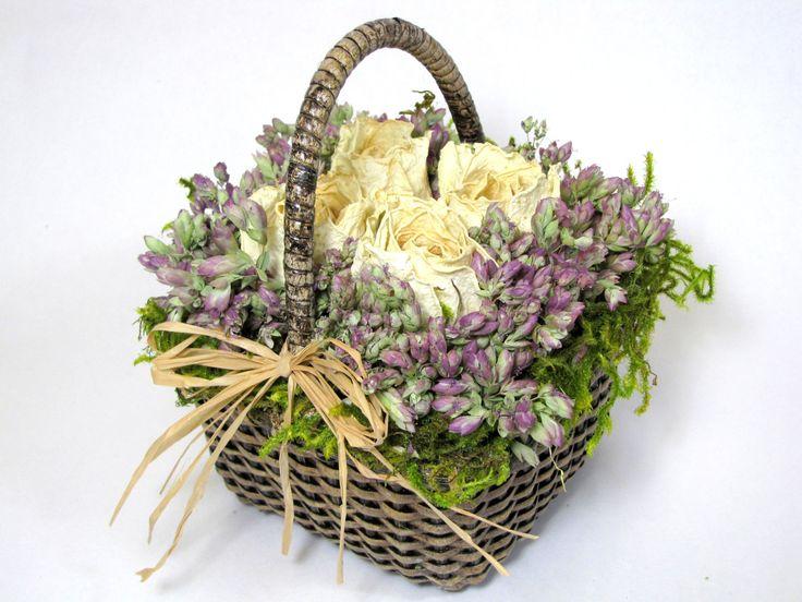 "dried flower decor on Esty   Dried Flower Arrangement ""Little Treasures"", Dried Flowers, Basket ..."
