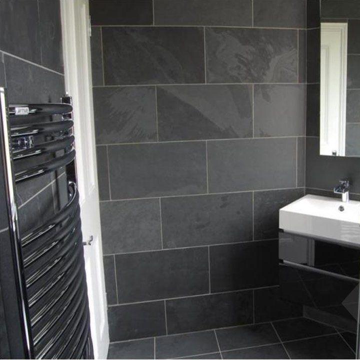 Brazilian Black Montauk Black Cleft Slate Tile 12 X12 Black Slate Tiles Slate Tile Slate Bathroom Dark slate bathroom floor slate
