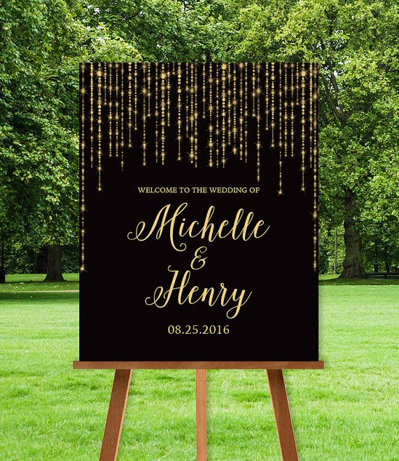 Elegant Wedding Welcome Sign / Great Gatsby Inspired Bokeh String Light Sparkle / Black and Gold ▷ Printable File {or} Printed & Shipped