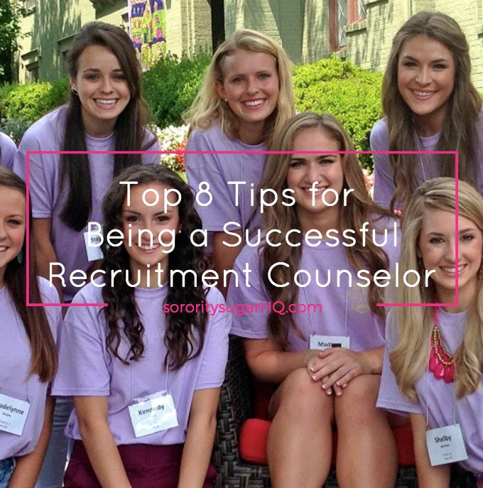"""If you've volunteered to give up your letters so other girls can find theirs, don't be afraid.  It's thrilling to serve as mentor and counselor to nervous PNMs who really need you during rush week. This is your time to shine as you guide your sweet PNMs towards their new sorority homes! Get key advice from sorority sugar ~ """"8 Tips for Being a Successful Recruitment Counselor."""" <3"""