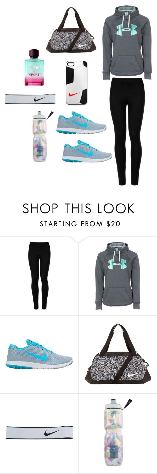 """Sporty Outfit"" by kayanna2 ❤ liked on Polyvore featuring Wolford, Under Armour, NIKE, Victoria's Secret and Joop"