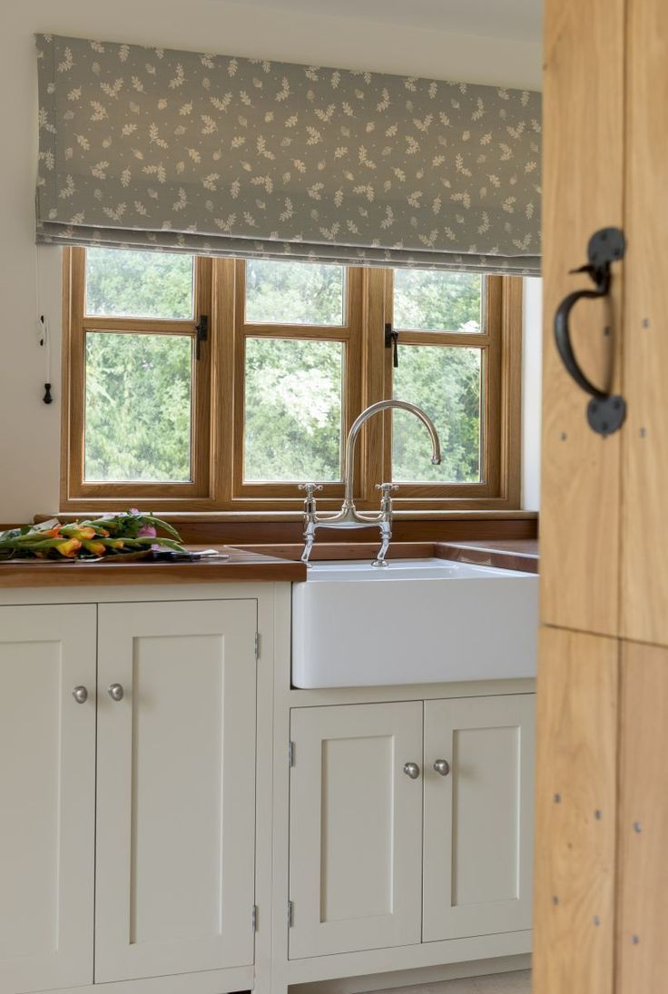 Farmhouse Roman Shades Kitchen Windows