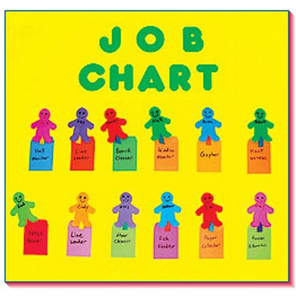 This brightly colored attendance chart has friendly people shapes, each with its own pocket representing each child. This helps involve the students in keeping