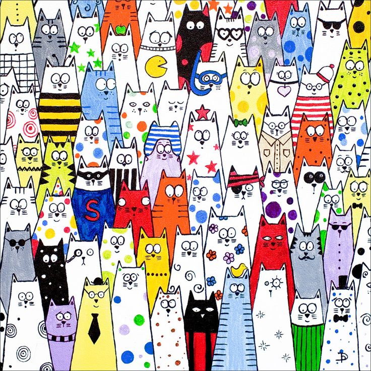 Cat art limited edition print - 'Pick and Mix' cats crowd scene. £11.00, via Etsy.