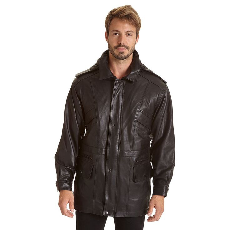 Big & Tall Excelled Lambskin Leather Hooded Parka, Men's, Size: Xl Tall, Black