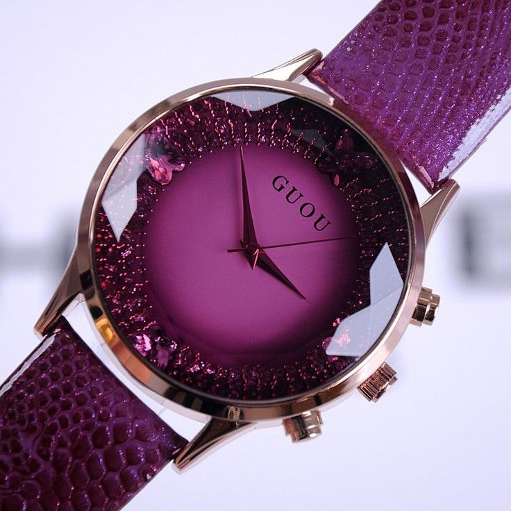 Guou purple faceted crystal dial watch with purple croc print leather strap