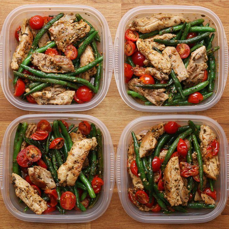 Weekday Meal Prep Pesto Chicken Veggies