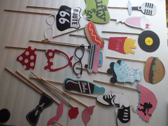 SOCK HOP nifty fifty photo booth props by flutterbugfrenzy on Etsy - 25+ Best Sock Hop Decorations Ideas On Pinterest 50s Party