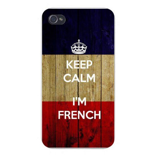 Apple Iphone Custom Case 4 4s Snap on - 'Keep Calm I'm French' w/ France National Flag Wood Grain Background