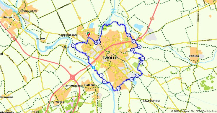 Zwolle (Overijssel, Nederland) | Fietsroute 256978 | 35,82 km | rondje Zwolle | Fietsen in Zwolle | http://www.route.nl/fietsroute/256978/rondje-zwolle. Elke dag nieuwe routes!