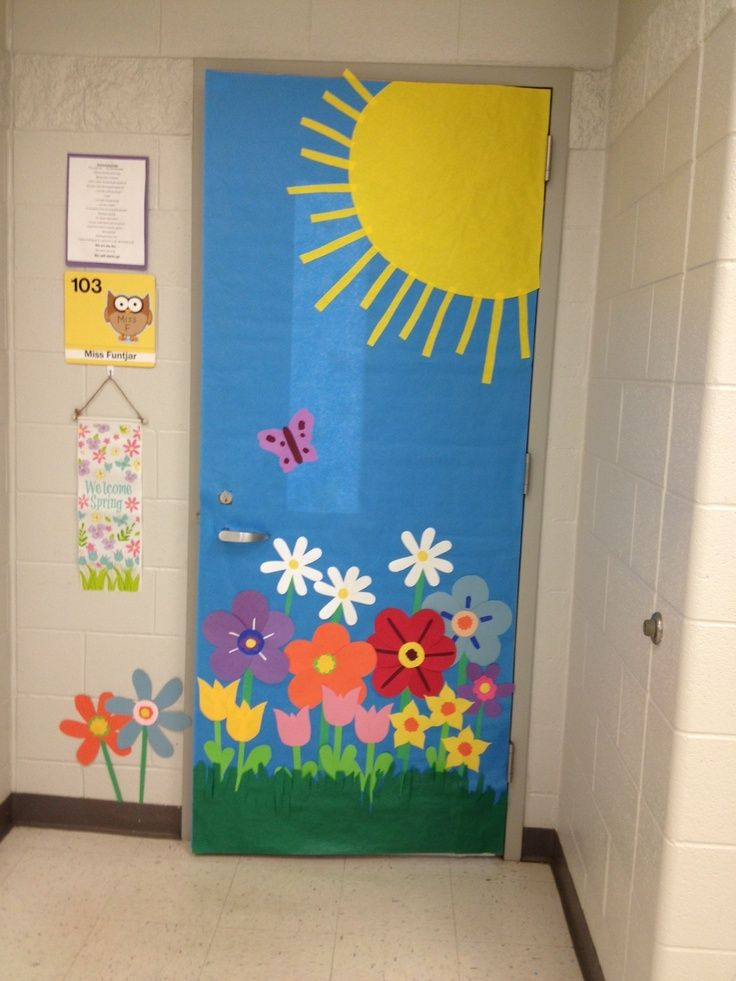 Spring door decorations classroom bing images teaching for Art and craft for classroom decoration