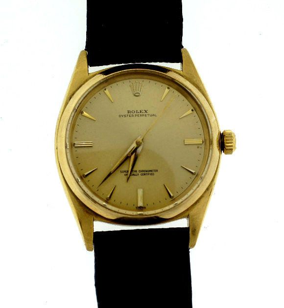 ROLEX 18K YELLOW GOLD C.1960 WATCH LEATHER STRAP OYSTER PERPETUAL SWISS 1012 #Rolex #swiss #18k #watch #leather #oyster