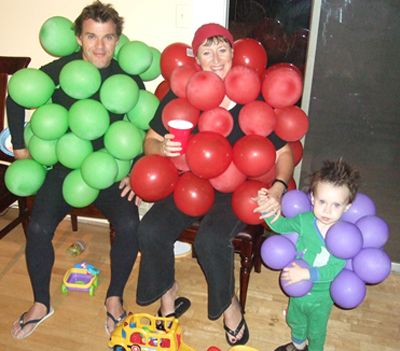 Family grape costume. Ranging from the 5 minute costume to some that will take a little more planning, these adult Halloween costumes are bound to get a few laughs at the party. Get inspired by the following Halloween costume ideas and don't settle for  a disappointing and unoriginal costume – why feel like a weeny on Halloweeny? - See more at: http://blog.nextdayflyers.com/22-easy-funny-halloween-costume-ideas-2014