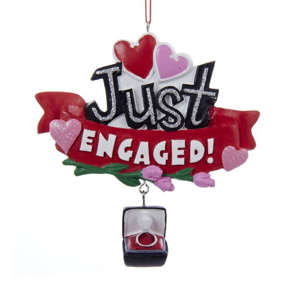 "4.375""RESIN ""JUST ENGAGED"" SIGN ORNAMENT #WEDDINGORNAMENT #BRIDEANDGROOM #ENGAGED"