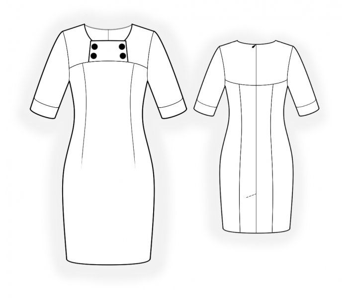 Dress With Decorative Yoke  - Sewing Pattern #4724 Made-to-measure sewing pattern from Lekala with free online download. Fitted, Darts, Princess seams, Yoke, Asymetrical, Buttoned, Zipper closure, Square neck, No collar, 1/2 sleeves, Cuff sleeves, Knee length, Straight skirt, No pockets