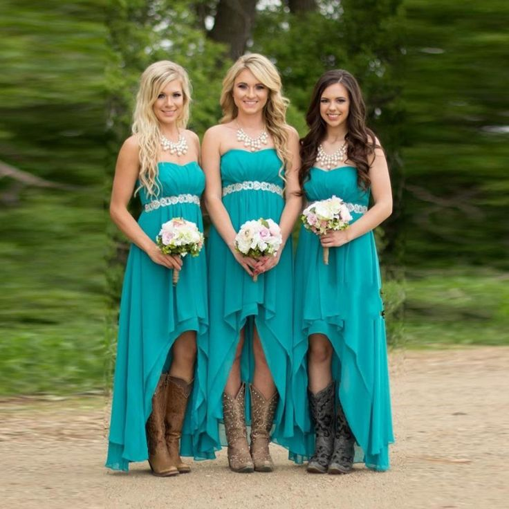 Real Image Country Wedding High Low Turquoise Bridesmaid Dresses with Boots  http://www.dhgate.com/product/country-wedding-high-low-bridesmaid-dresses/379440955.html