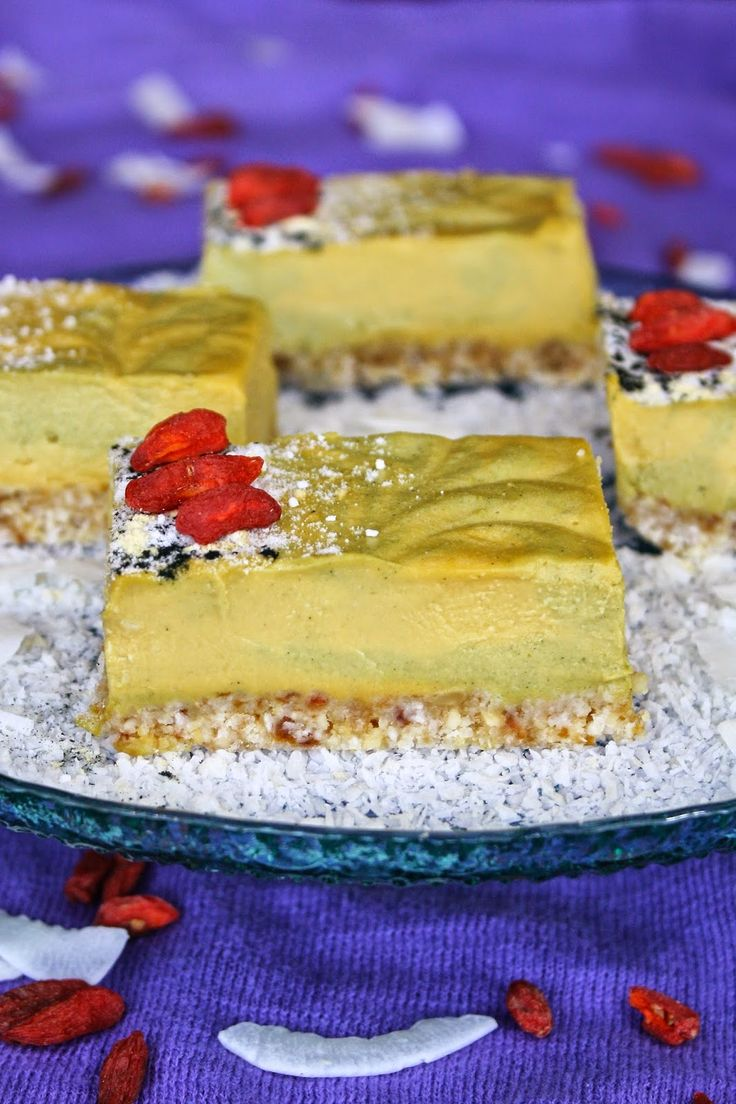 ... cheesecake bars with passionfruit and coconut. Raw, vegan, gluten free