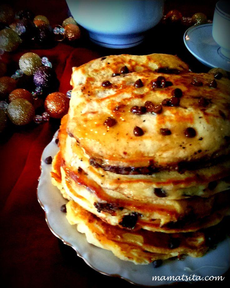 Festive chocolate chip pancakes