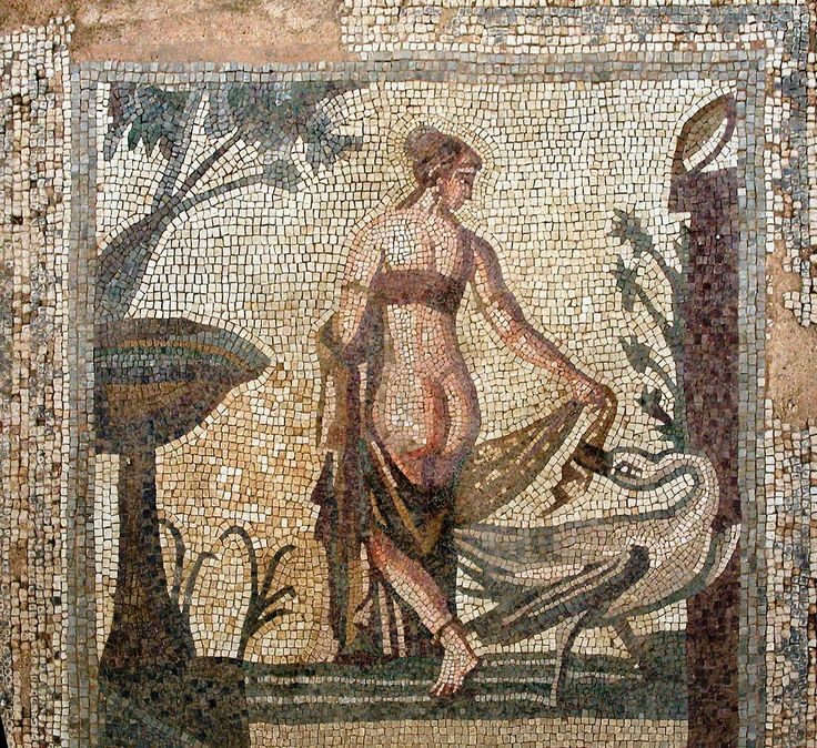 Tile mosaic depicting 'Leda and the Swan' from the Sanctuary of Aphrodite, Palea Paphos, now in the Cyprus Museum, Nicosia, Cyprus. The mosaic is estimated to be of 3rd century AD, by an unknown artist.:
