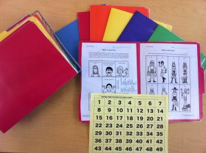 Laminate folders with activity sheets for your students to work on when they finish an assignment early