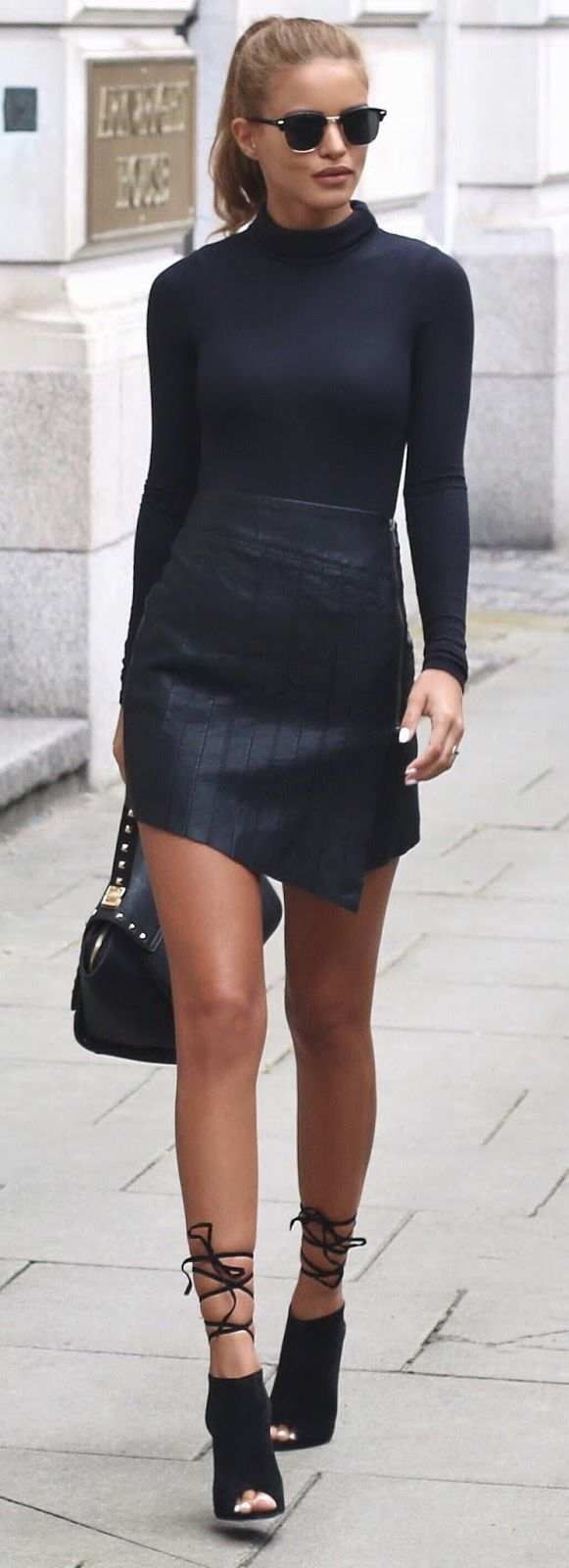 Ribbed Turtle Neck - Boohoo Leather Zip Skirt - Ankle Boot Heels - Public Desire - Gold Studded Bag - La Moda