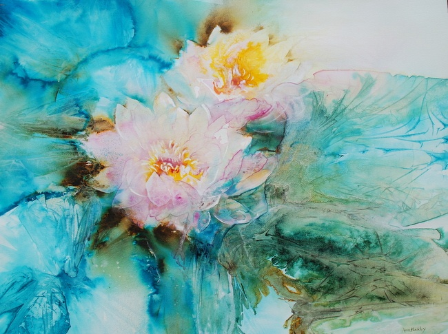 WATERLILLIES by ANN BLOCKLEY, Price: £950.00, Medium: Watercolour, Size: 77 X 87 CMS