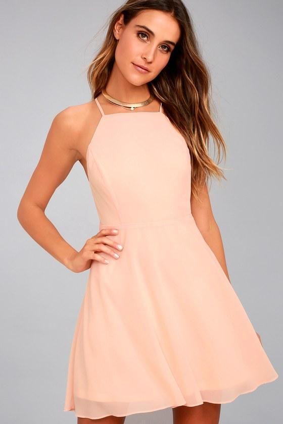 4f9cd9e636  Lulus -  Lulus Lulus - Letter of Love Blush Pink Backless Skater Dress -  Size X-Large - 100% Polyester - AdoreWe.com