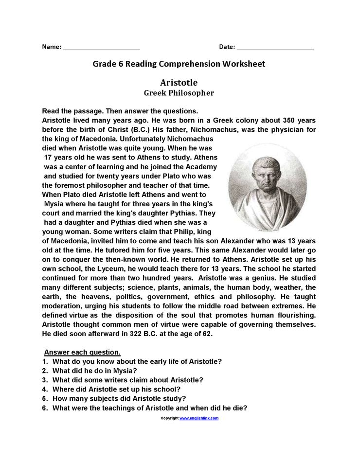 Aristotle Sixth Grade Reading Worksheets | Reading ...