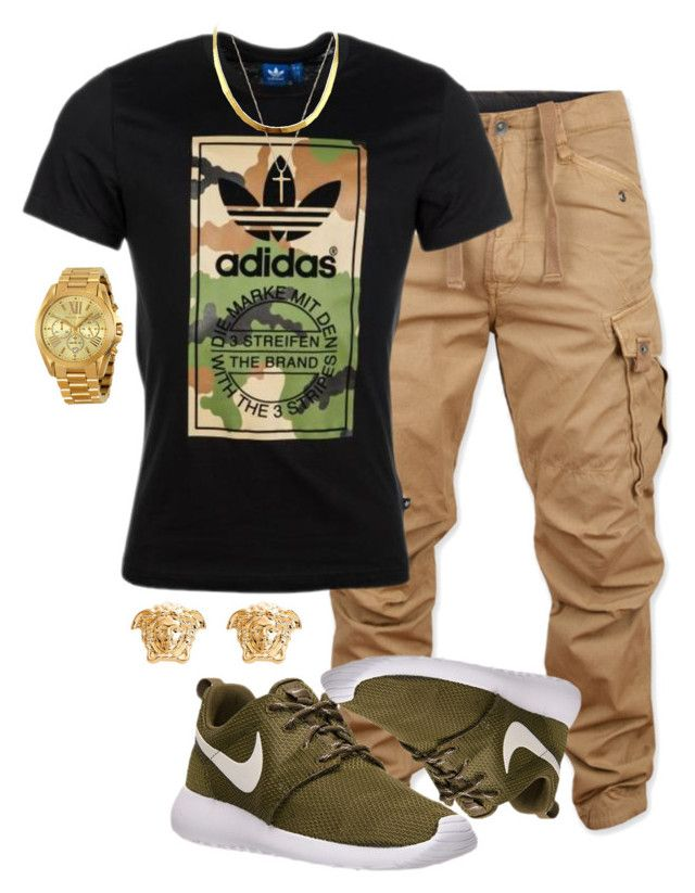 """Closer"" by malkia-ky ❤ liked on Polyvore featuring G-Star Raw, NIKE, adidas Originals, Gucci, Michael Kors, Versace, gold, adidas, versace and camo"