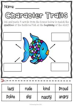 The Rainbow Fish - Character Traits, NO PREP