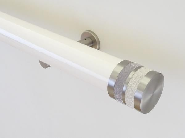 50mm diameter soft white gloss lacquered curtain pole with champagne bobbin finials