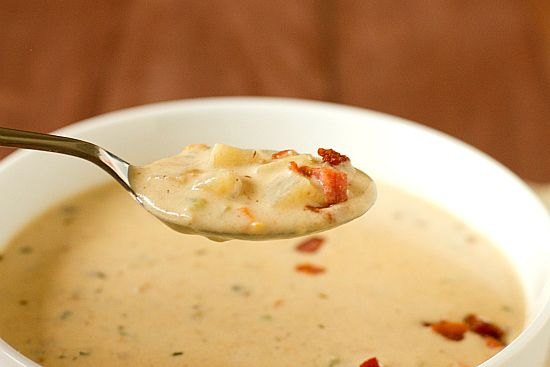 browneyedbaker's Cheddar and Ale Soup with Potato and Bacon: Delicious! I made it yesterday with Miller Lite Beer, fat free half and half, and I drained most of the bacon fat before adding onion and shallot.