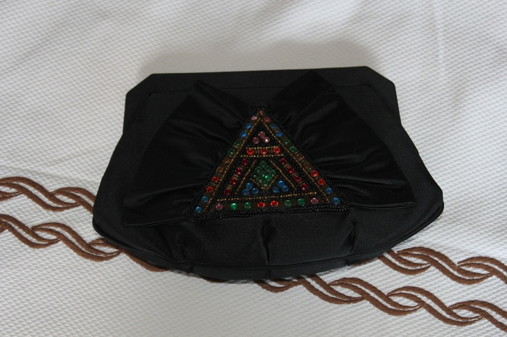 Evening satin pochette with colored beaded embroidery 70s