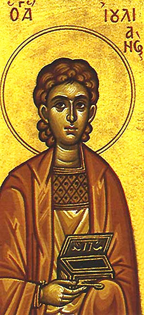 Holy Martyr Julian (4th cent Emesa, Phoenicia) lived Emperor Maximian's persecution. A skilled physician, he cured body as well as soul and converted many. When Holy Martyrs Bishop Sylvanus, Deacon Luke, and Reader Mokios (Feb 29) were taken to be devoured by wild beasts, Julian encouraged them, urging them not to fear death. For this he was arrested and locked in a narrow cranny. There he was killed by being pierced in the head, hands, and feet with long nails. He is celebrated Feb 6.