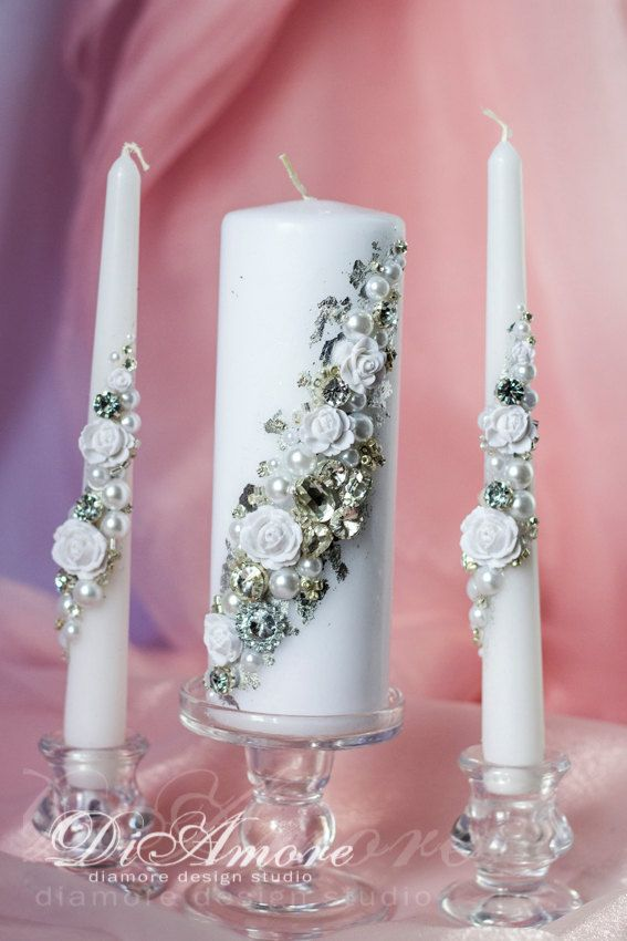 Winter Wedding, Frosty Wedding, Silver and Pearl wedding unity candles, from the collection Crystal & Pearl, white flower, 3pcs