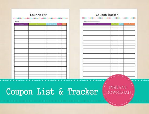 Coupon List & Coupon Tracker  Printable and by MBucherConsulting