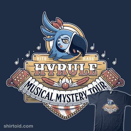 Kass' Musical Mystery Tour   Shirtoid #adamhowlett #adho1982 #breathofthewild #gaming #hyrule #kass #thelegendofzelda #videogame