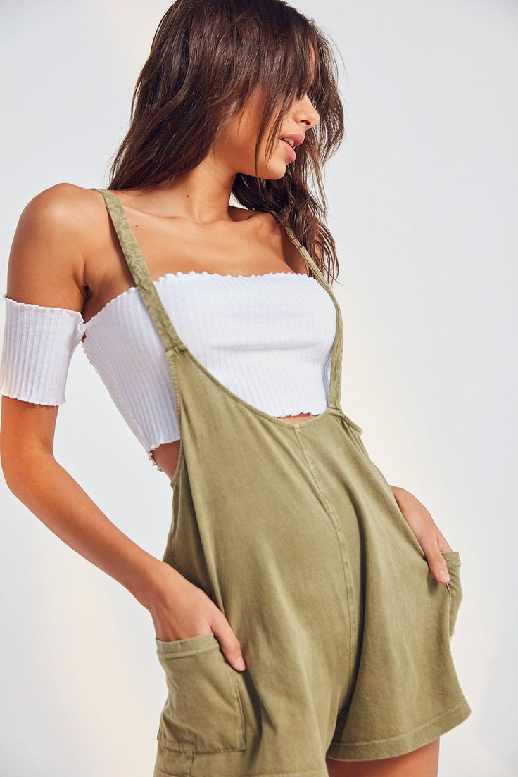 Slide View: 1: Out From Under Own It Asymmetrical Overall Romper